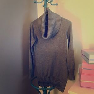 Gray sweater with open turtleneck